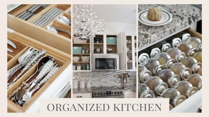 conseils comment bien amenager petite cuisine, trucs pour optimiser l'espace dans une cuisine avec différentes contenants de récup