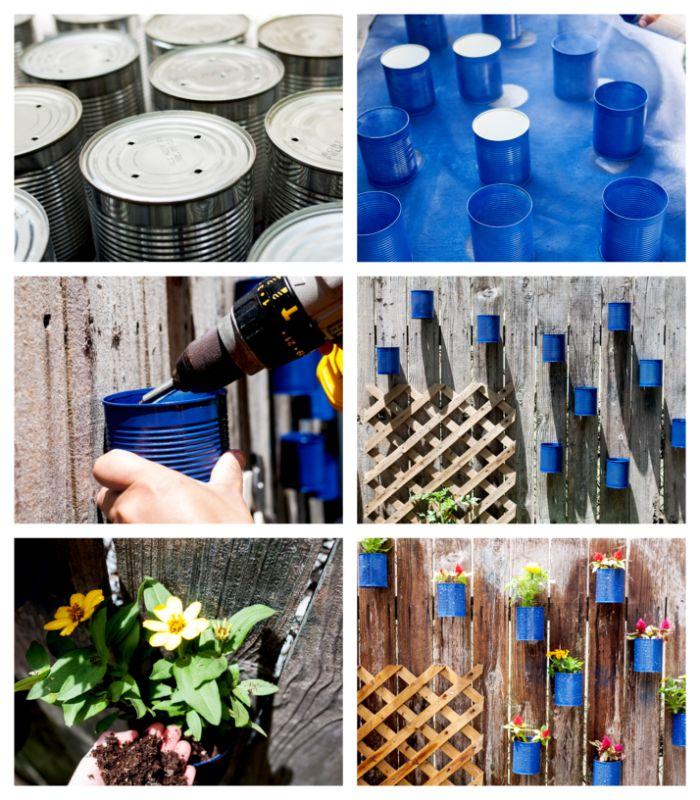idee pour faire un mur vegetal et idee habillage mur exterieur avec des pots de fleurs diy en boite de conserve recyclée