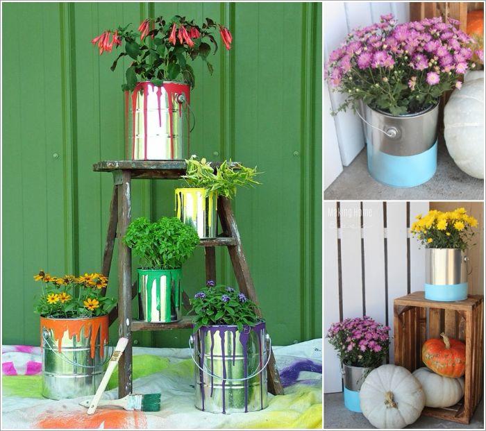 bac à peinture transformée en jardinière sur un escabeau, déco récup 80 idées pour le jardin