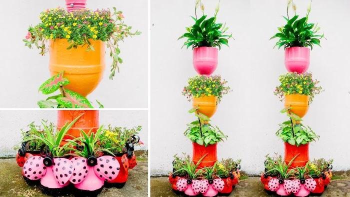 jardiniere verticale a faire soi meme en bouteilles de plastique recyclées, idee deco jardin facile a faire soi meme