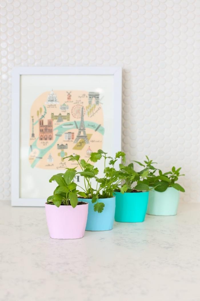 deco fait maison avec matériaux de récup, idée comment utiliser les vieilles bouteilles de produits de bain comme pots de fleurs