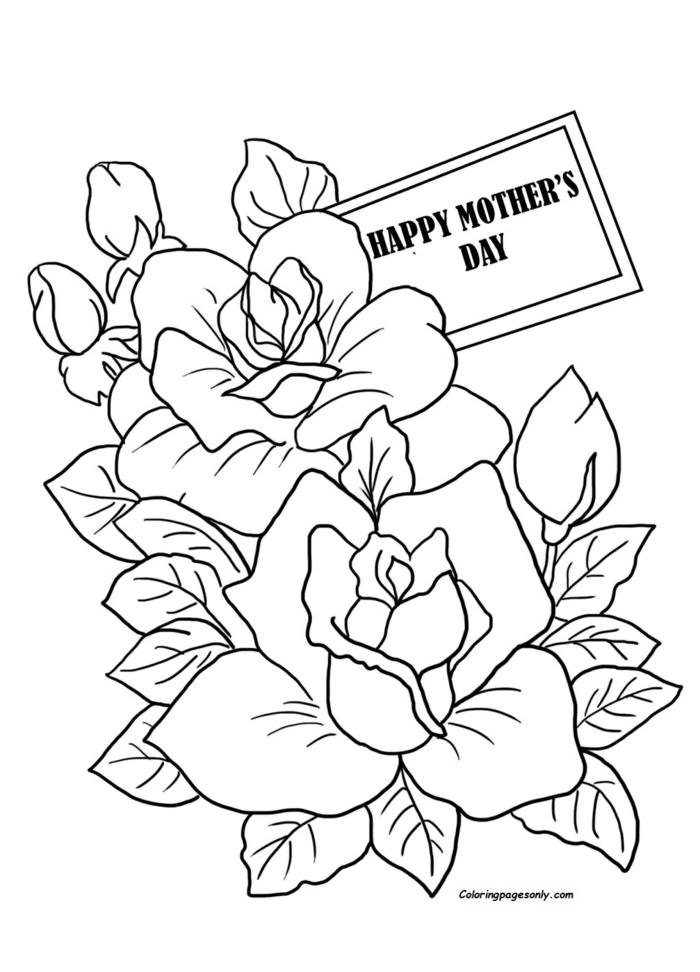 Bonne journée de la mère roses coloriage activité fête des mères, dessin pour cadeau fête des mères à fabriquer