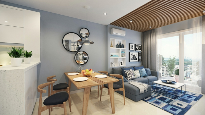 Cool idée cuisine ouverte au salon et salle a manger aménagement petit appartement 40m2, les meilleures idées déco