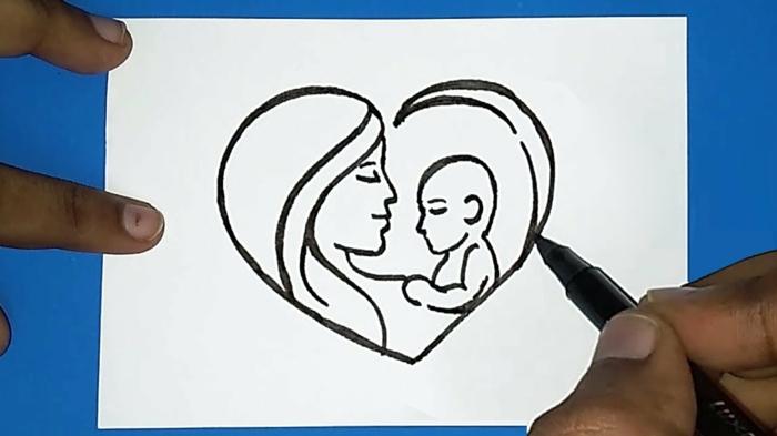 Coeur avec dessin de mere et bebe dedans carte fête des mères maternelle, cadeau fête des mères à fabriquer