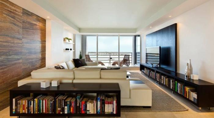 Grand canapé blanc cuir en angle, comment aménager son appartement pour se sentir bien dedans confinement