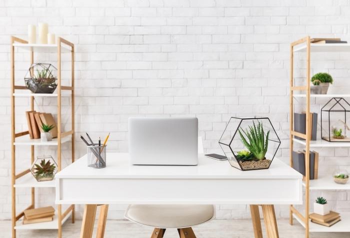 design moderne de coin bureau à domicile aménagé avec bureau blanc et meubles de rangement en bois, idée de plante pour bureau