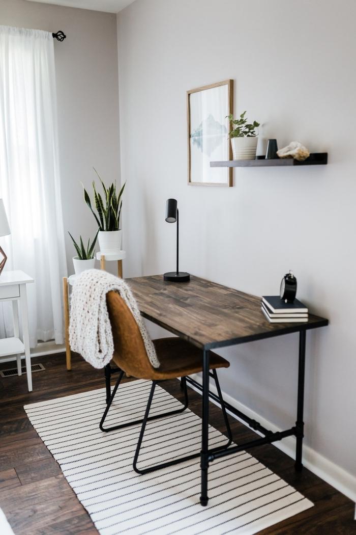 idée comment décorer un bureau à domicile minimaliste avec meuble en bois foncé et plante verte d'intérieur originaux
