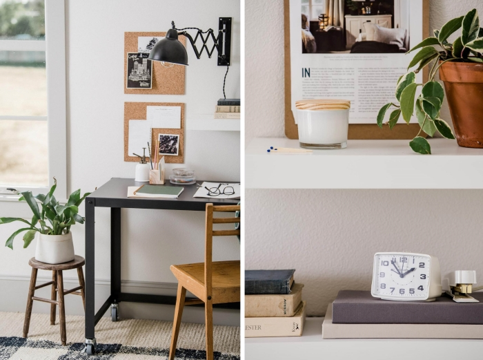 plantes vertes d'intérieur photos, décoration bureau dans un salon aménagé avec meubles moderne et accents en bois