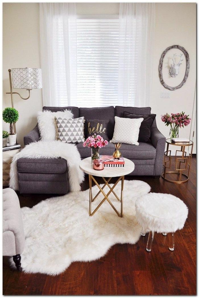 Canapé gris, tapis shaggy aménagement studio, deco appartement, chouette idée decoration