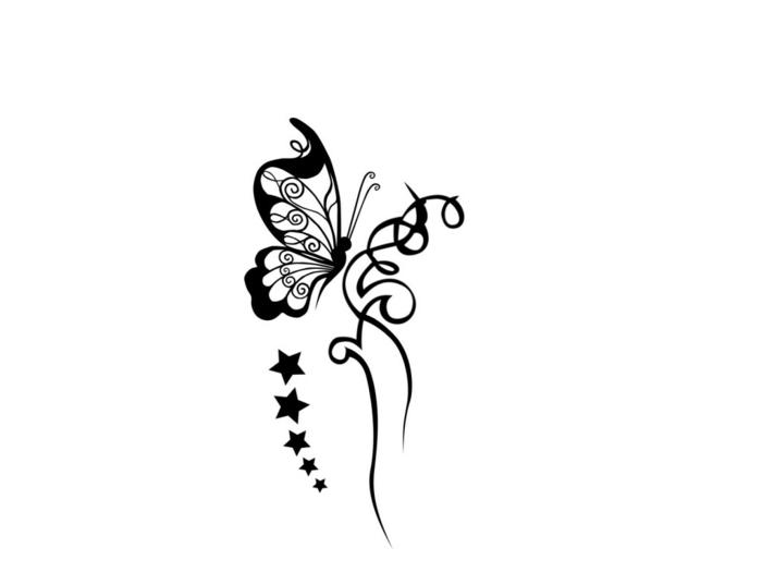 Dessin tatouage papillon et étoiles, coloriage papillon, dessin facile a faire et colorier apres simple