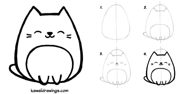 idée pour réaliser un dessin de chat mignon, tutoriel facile avec traits de repère pour faire un chat kawaii au crayon