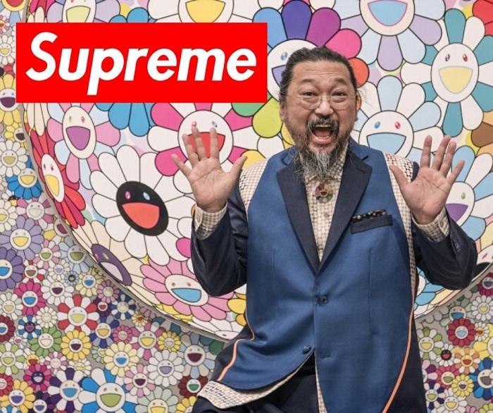 Takashi Murakami a personnalisé le box logo de Supreme version Charity pour un tee-shirt qui sera vendu au profit de Help Usa