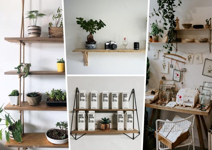modèles d'étagères DIY fabriquées avec planches de bois et corde suspendues, idée de rangement livre à faire soi-même