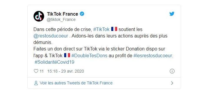 Covid 19 : TikTok annonce son partenariat avec les restos du coeur et collectera des fonds via un nouveau sticker