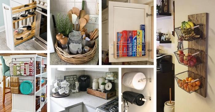 comment organiser ses produits de cuisine à l'aide de contenants et paniers, exemple amenagement petite cuisine facile