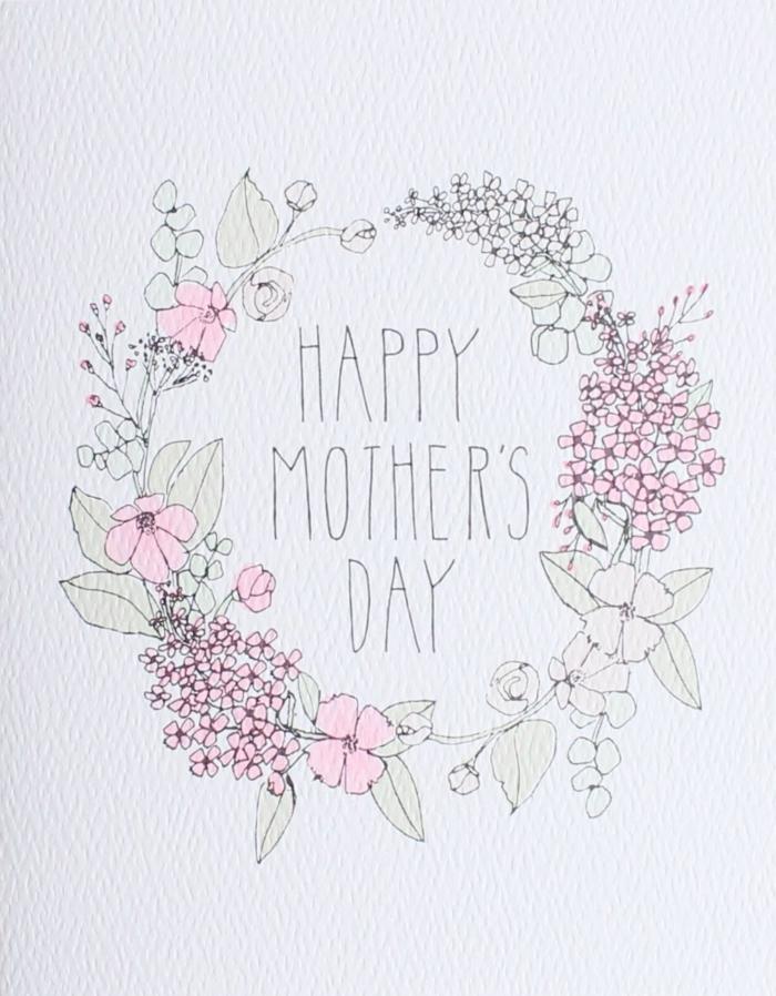 Carte couronne de fleurs dessin pour maman, comment dessiner maman cadeau pour la fete