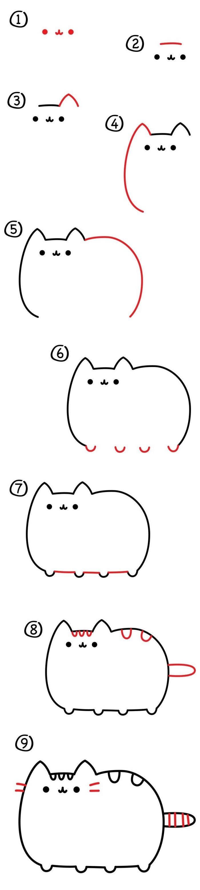 pas à pas détaillé pour réaliser un dessin chat kawaii mignon, apprendre aux enfants de dessiner facilement au crayon