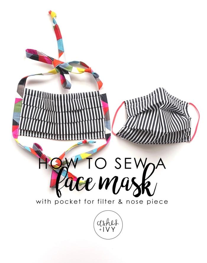 modèle de masque visage à faire soi-même avec tissu, exemple de coronavirus masque avec poche pour filtre et élastique multicolore