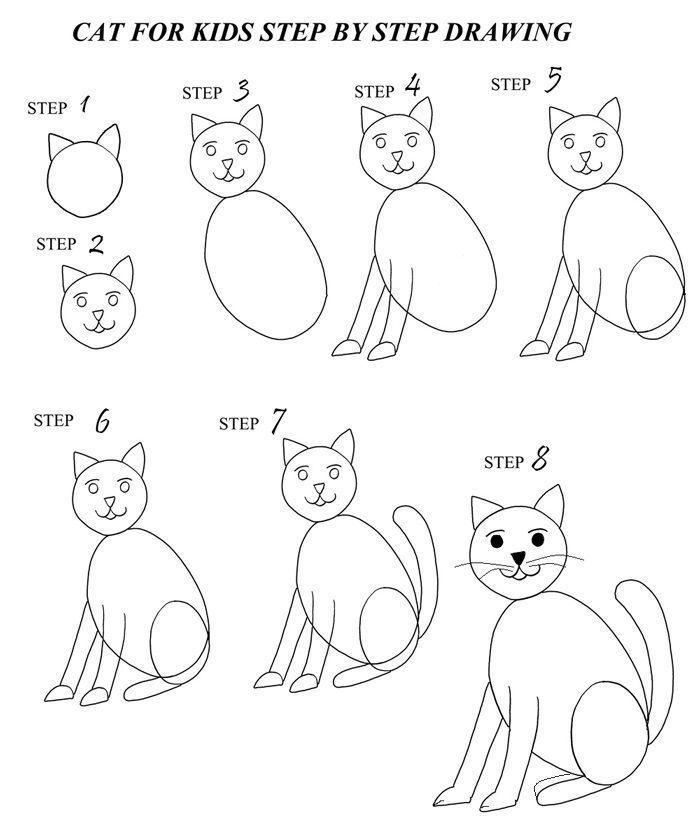 étapes à suivre pour faire un chat assis au crayon avec pattes assis, exemple de dessin de chat facile en étapes simples