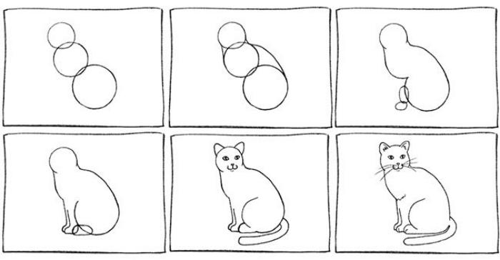étapes à suivre pour faire un dessin chat noir et blanc au crayon, pas à pas pour dessiner un chat assis avec formes géométriques