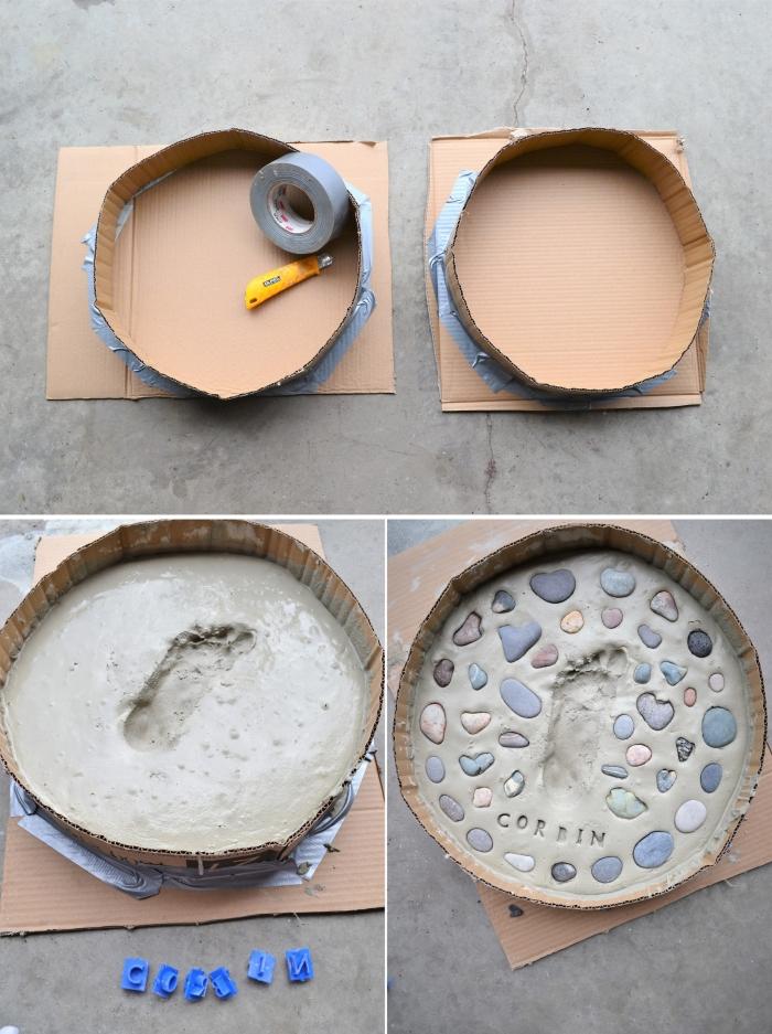 idée d'activité fête des mères originale, exemple comment réaliser une pierre de gué avec ciment et empreinte d'enfant