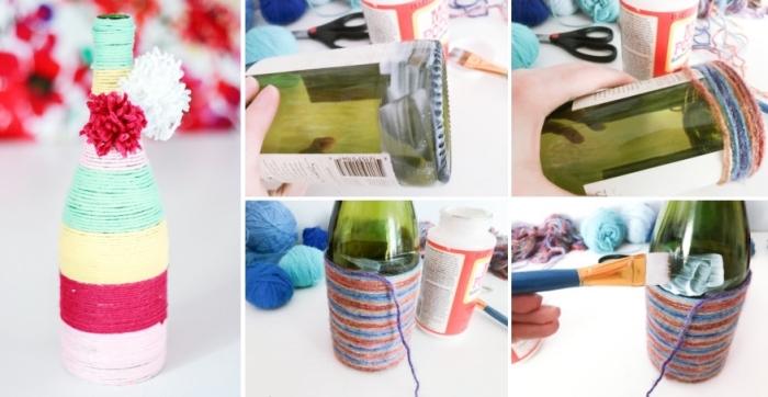 idée bricolage facile de printemps, étapes à suivre pour décorer une bouteille en verre avec ficelle et pompons fait maison