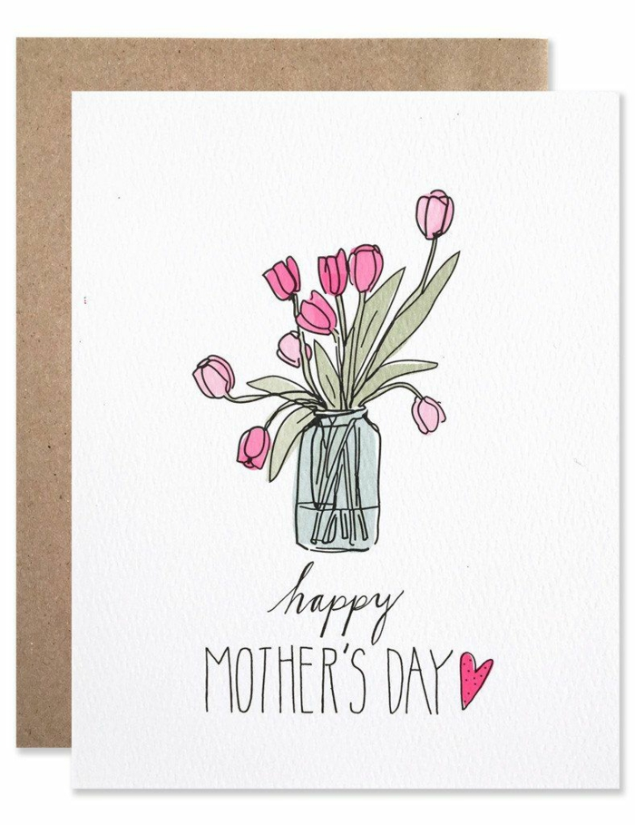 Carte pour sa mere avec dessin de bouquet de tulipes dans vase, image fete des meres, dessin pour la fête des mères idée cadeau