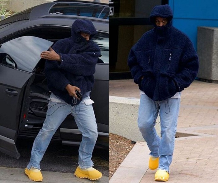 Les nouvelles chaussures Yeezy 8 aperçues aux pieds de Kanye West aux environs de ses bureaux de Yeezy Calabasas en Californie