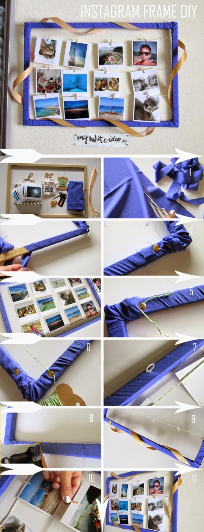 Cadre décoré de tissu bleu cadre photo pele mele, créer un mur avec photographies de la famille