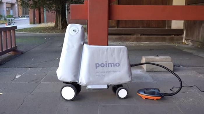 La trottinette gonflable Poimo se gonfle en 71 seconde grâce à son pompe électrique
