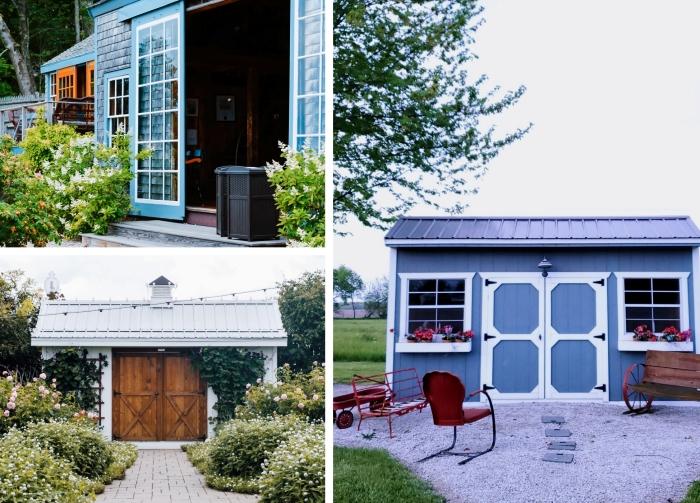travaux de menuiserie extérieure, modèles d'abri de jardin original en bois avec porte vitrée