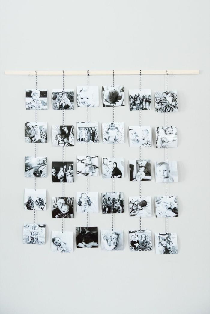 Photographies noir et blanc sur corde et baton en bois cadre photo original, accroche photo jolie décoration de chambre