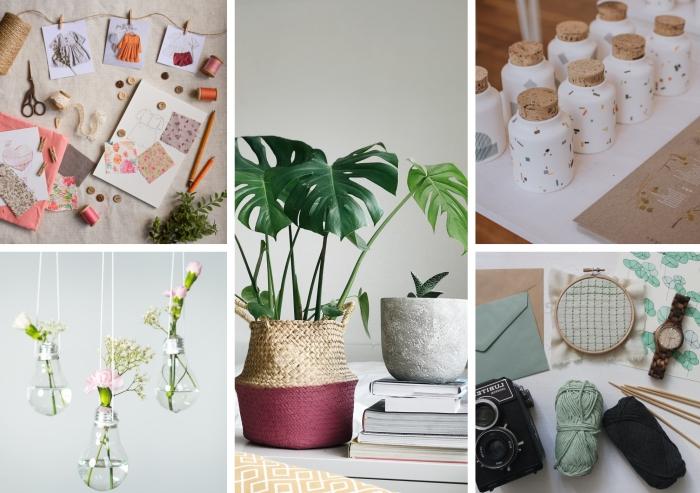 projet créatif pour fabriquer ses objets de déco soi-même, cache-pot tressé en fibre naturelle personnalisé avec peinture, décorer son intérieur