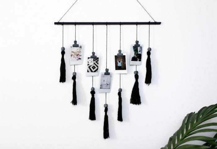 modèle de suspension murale d'esprit bohème à faire soi-même, idée comment décorer sa chambre avec macramé facile