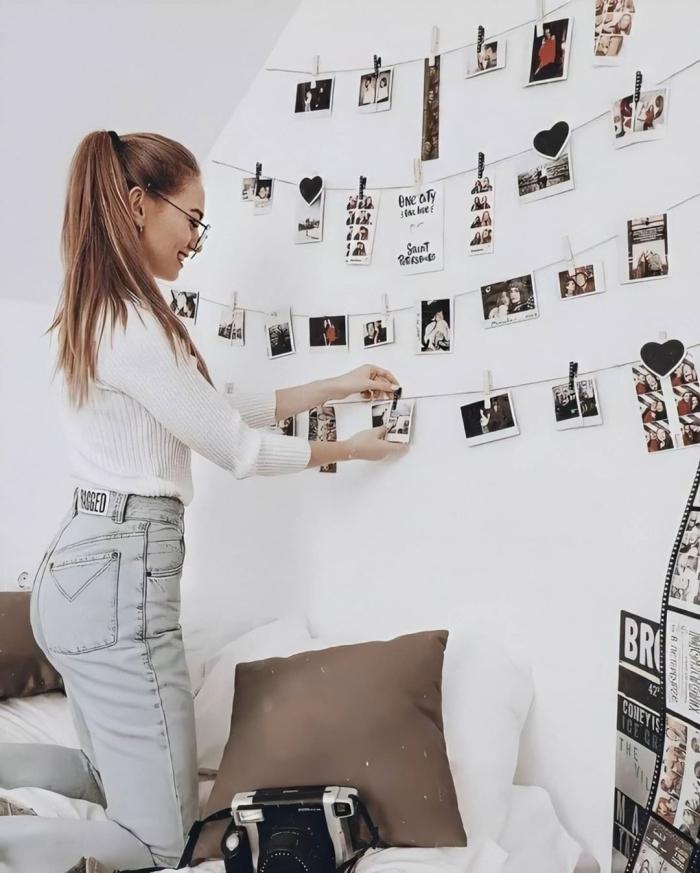comment décorer sa chambre fille, exemple comment personnaliser le mur au-dessus de son lit cocooning avec polaroid