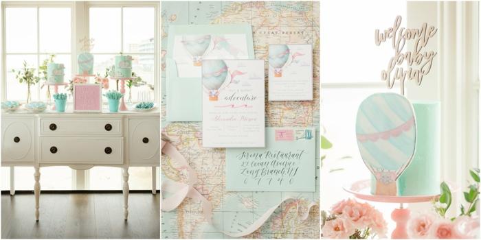 Bébé fille décoration de chambre thème voyage plan du monde déco murale chambre de fille en rose et gris, idee decoration chambre fille