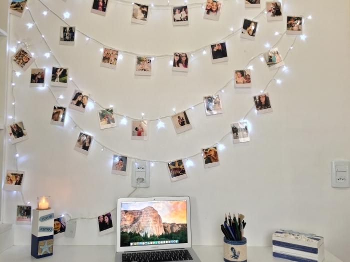 exemple comment personnaliser une guirlande lumineuse chambre étudiant, décoration murale avec chaîne LED et photos