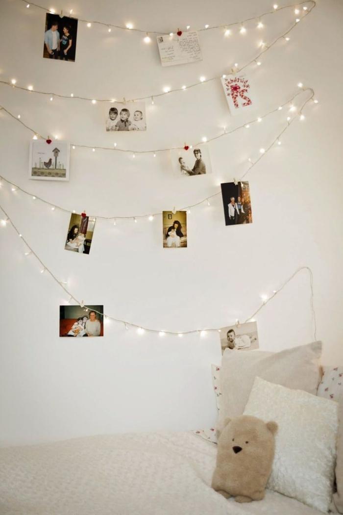 idée comment décorer les murs dans une pièce enfant avec objets DIY et à petit budget, guirlande lumineuse interieur