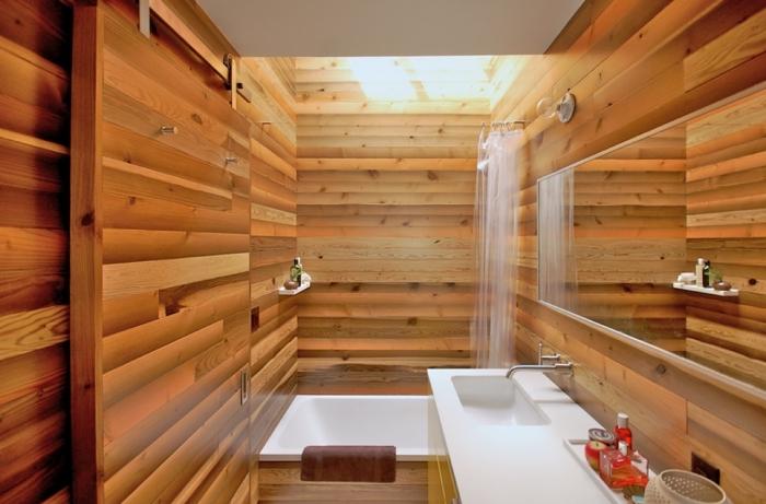 comment aménager une salle de bain de style asiatique en bois, modèle de bain japonais pour petit espace avec douche