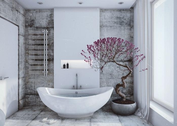 modèle de baignoire japonaise blanche, quelles couleurs pour une déco de salle de bain style asiatique, plantes pour salle de bain
