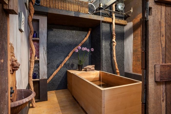 quelle couleur associer au gris dans une salle de bain bois, décoration salle de bain de style asiatique avec accents en bois