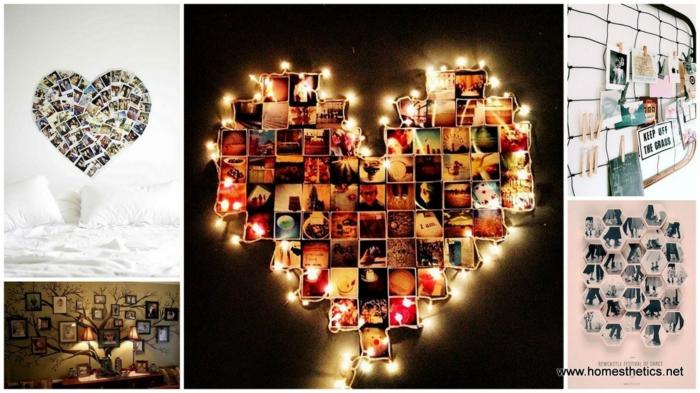 Belles décorations chambre à coucher pele mele coeur avec guirlandes lumineuses, porte photo, accroche photo, idée de déco cadre photo pele mele