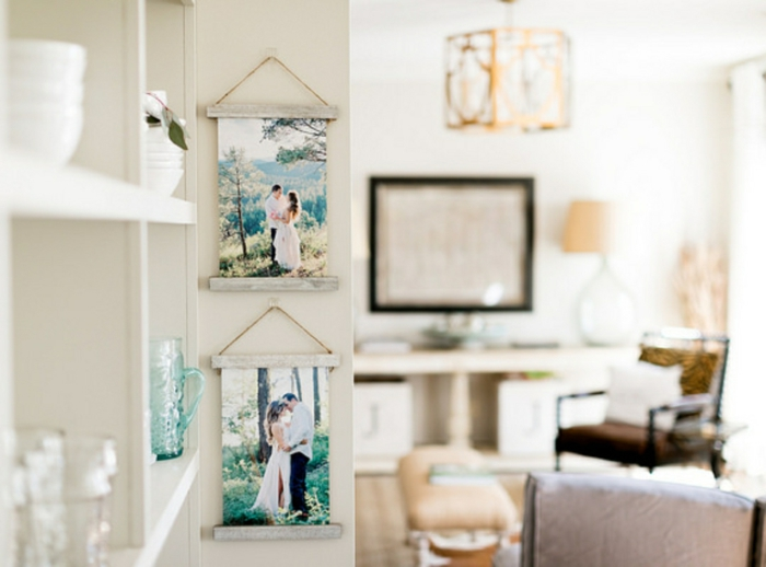 Cool idée comment accrocher ses photos famille, cadre multi photo, accroche photo idée projet diy pinterest inspiration