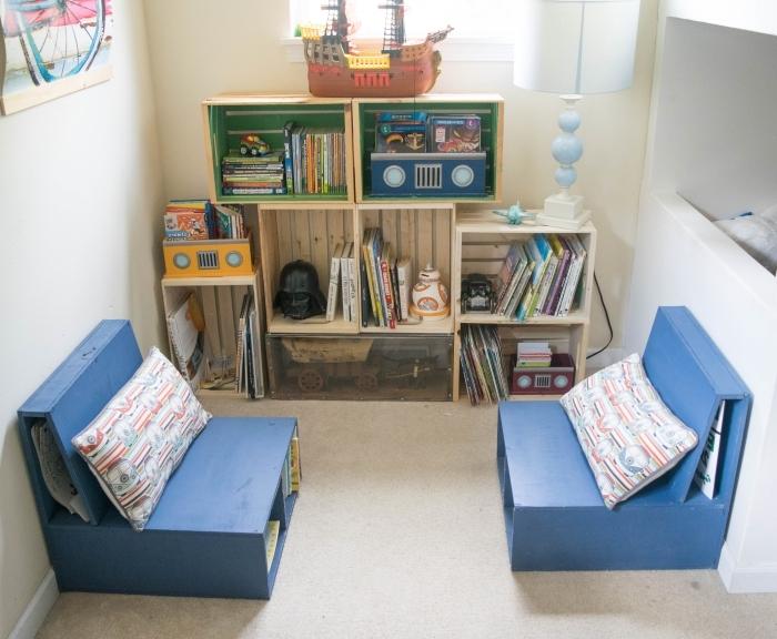 design coin de lecture et jeu dans une chambre d'enfant, fabriquer ses meubles en bois de palette ou cagettes de bois