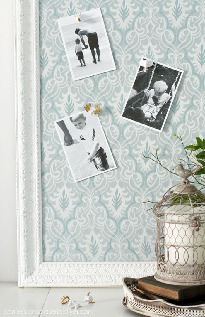 Tissu dans cadre pour epingler ses photos geant cadre pele mele, cadre photo original pour décorer les murs de sa maison
