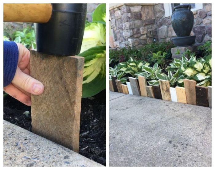 recyclage bois de palette comme idee bordure jardin recup en palette en plaque de bois de couleur et hauteur variées
