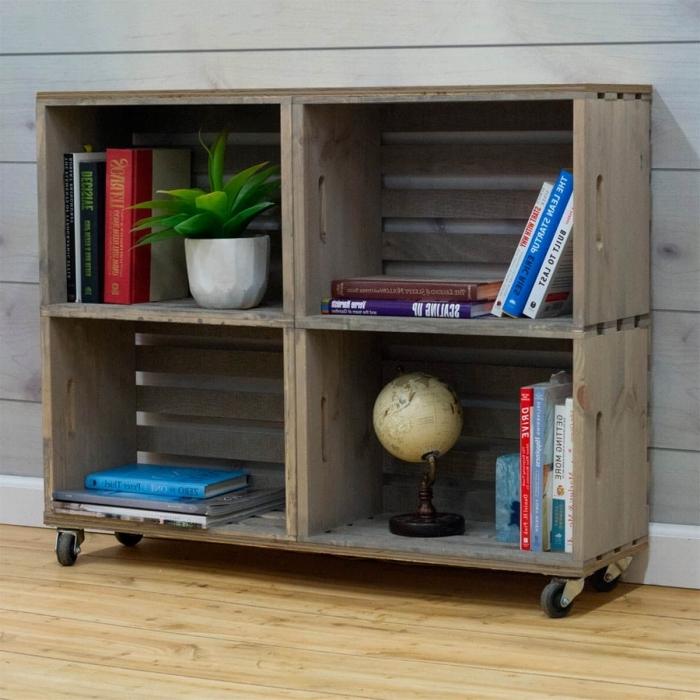 petite bibliothèque maison à réaliser soi-même avec matériaux de récup, modèle de meuble de rangement DIY et à petit budget