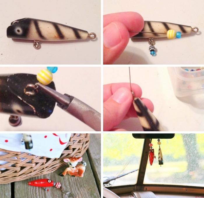 exemple de cadeau fête des pères personnalisé, DIY porte-clé avec figurine poisson pour papa pêcheur, accessoire fait main pour papa