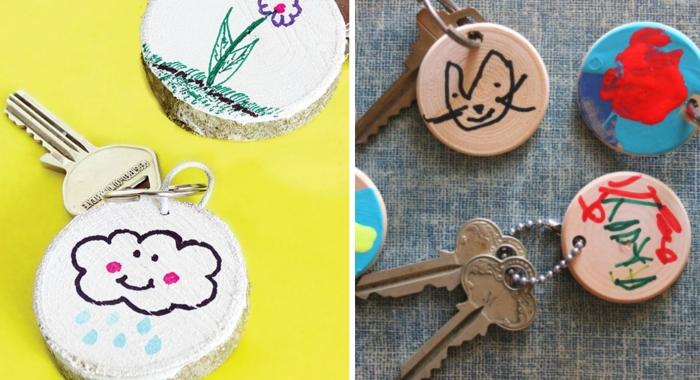 comment faire un cadeau fête des pères maternelle avec dessin facile, modèle de porte-clé en bois rond avec dessins
