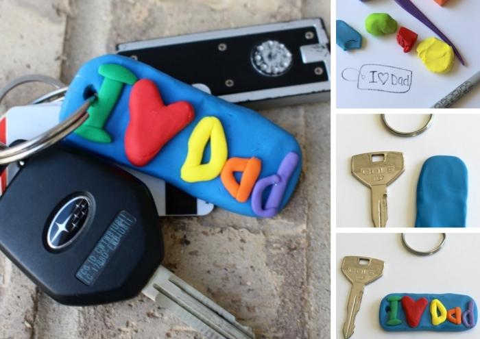 idée de cadeau fête des pères bébé, comment faire un accessoire originale pour papa avec argile en forme de porte-clé